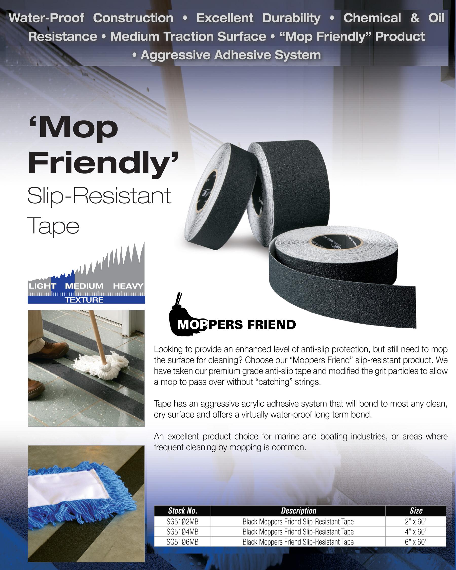 Moppable Mop Friendly Non Skid Tape