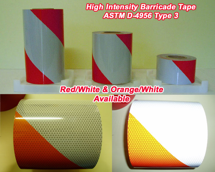 high intensity type 3 striped barricade reflective tape