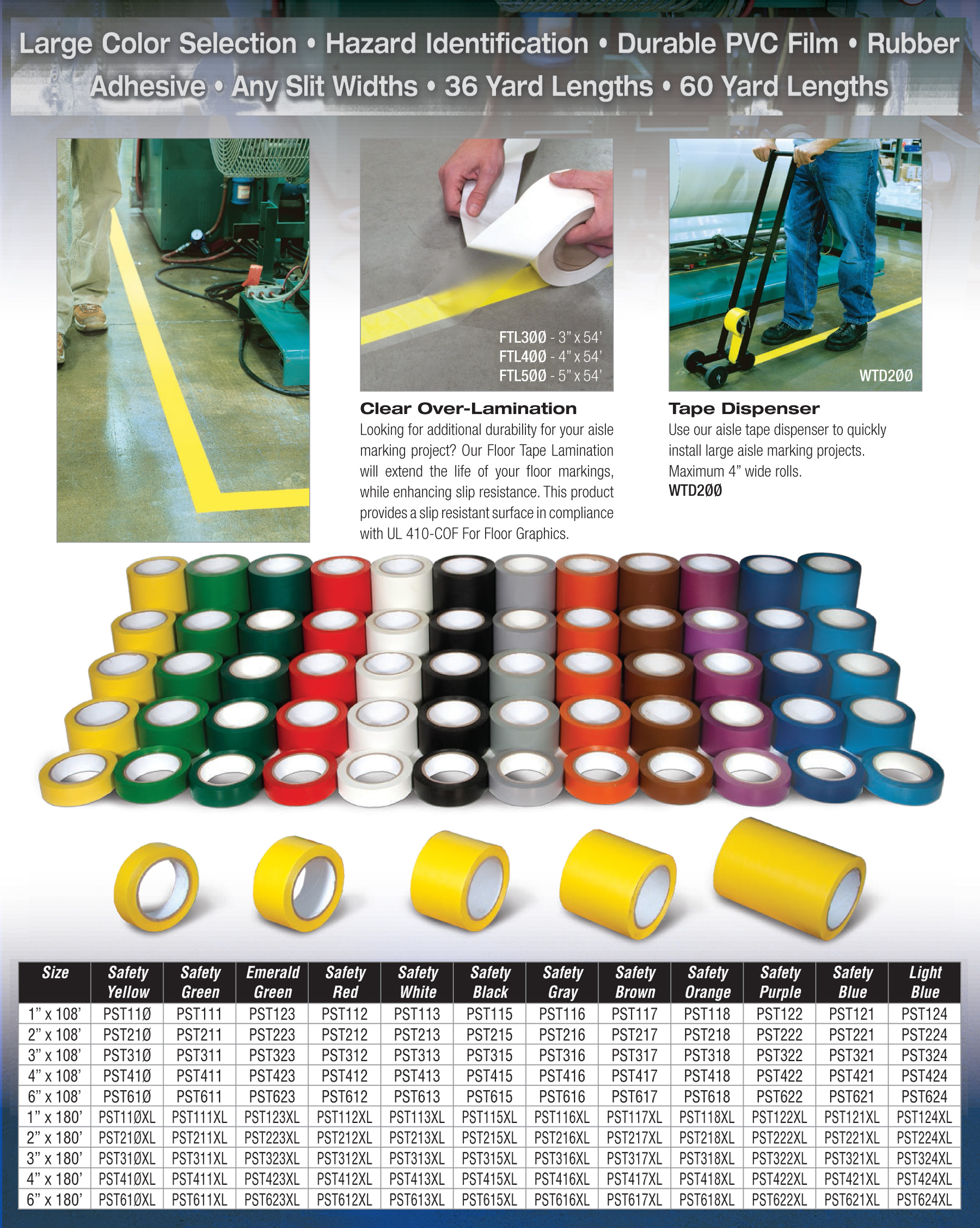 Vinyl Warehouse Floor Tape 5 Widths 11 Colors